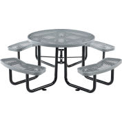 """Global Industrial™ 46"""" Round Outdoor Steel Picnic Table, Expanded Metal, Gray"""