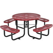 """46"""" Round Outdoor Steel Picnic Table - Expanded Metal - Red"""
