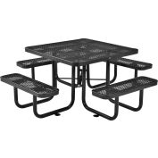 """Global Industrial™ 46"""" Square Outdoor Steel Picnic Table, Expanded Metal, Black"""