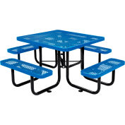 """Global Industrial™ 46"""" Square Outdoor Steel Picnic Table - Expanded Metal - Blue"""