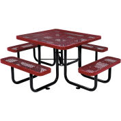 "Global Industrial™ 46"" Square Outdoor Steel Picnic Table, Expanded Metal, Red"