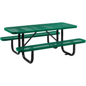 Global Industrial™ 6 ft. Rectangular Outdoor Steel Picnic Table - Expanded Metal - Green