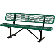 Global Industrial™ 6 ft. Outdoor Steel Bench with Backrest - Expanded Metal - Green