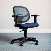 Interion® Mesh Office Chair With Mid Back & Adjustable Arms, Fabric, Blue