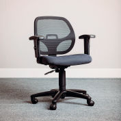 Interion® Mesh Office Chair With Mid Back & Adjustable Arms, Fabric, Gray