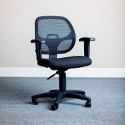 Interion® Mesh Office Chair with Arms - Fabric - Black