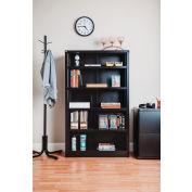 "Interion® All Steel Bookcase 36"" W x 12"" D x 60"" H Black 5 Openings"