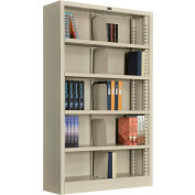 "Interion® All Steel Bookcase 36"" W x 12"" D x 60"" H Putty 5 Openings"