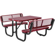 Global Industrial™ 4' Rectangular Outdoor Picnic Table With Backrests, Expanded Metal, Red