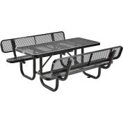 Global Industrial™ 6' Rectangular Outdoor Picnic Table With Backrests, Expanded Metal, Black