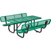 Global Industrial™ 6' Rectangular Outdoor Picnic Table With Backrests, Expanded Metal, Green