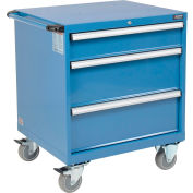Global™ Mobile Modular Drawer Cabinet, 3 Drawers, w/Lock, w/o Dividers, 30x27x36-7/10, Blue