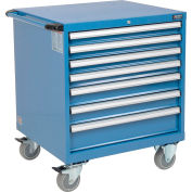 """Global Industrial™ Mobile Modular Drawer Cabinet, 7 Drawers, w/Lock, 30""""Wx27""""Dx37""""H, Blue"""