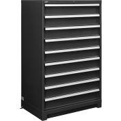 "Global Industrial™ Modular Drawer Cabinet, 9 Drawers, w/Lock, 36""Wx24""Dx57""H, Black"