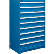 Armoire modulaire à tiroirs Global™, 9 tiroirs, avec verrou, sans diviseurs, 36 po larg. x 24 po diam. x 57 po haut., bleu
