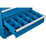 """Global Industrial™ Dividers for 8""""H Drawer of Modular Drawer Cabinet 36""""Wx24""""D, Blue"""