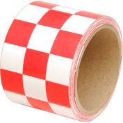 "INCOM® Checkerboard Hazard Tape - Red/White, 3""W x 54'L, 1 Roll"