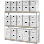 "Global Industrial™ Record Storage Open With Boxes 72""W x 15""D x 60""H - Gray"