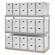 "Global Industrial™ Record Storage Rack With Boxes 72""W x 30""D x 60""H - Gray"