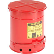 Justrite 10 Gallon Oily Waste Can, Red - 09300
