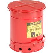 Récipent à déchets huileux Justrite,10 gallons, rouge,09300