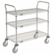 Nexelate Wire Shelf Utility Cart 36x18 3 Shelves 800 Lb. Capacity