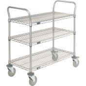 Nexelate Wire Shelf Utility Cart With Brakes 36x18 3 Shelves 800 Lb. Capacity