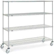 Nexel® Chrome Wire Shelf Truck 72x24x69 1200 Pound Capacity with Brakes