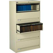 """Deluxe Retracting Front Lateral File Cabinet 36""""W X 65""""H - Putty"""