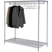 Support à vêtements vertica - 2 tablettes - 60 po de largeur x 24 po de diamètre x 63 po de hauteur - Chrome