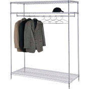 "Free Standing Clothes Rack - 3-Shelf - 60""W x 24""D x 74""H - Chrome"