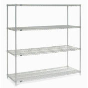 "86""H Nexel Chrome Wire Shelving - 72""W X 30""D"