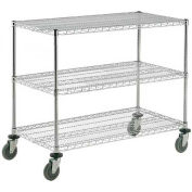 Nexel® Adjustable Chrome Wire Shelf Cart 36x18 3 Shelves 800 Lb. Capacity