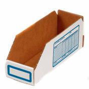 """Foldable Corrugated Shelf Bin 4""""W x 12""""D x 4-1/2""""H, White - Pkg Qty 100"""
