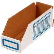 "Foldable Corrugated Shelf Bin 4""W x 18""D x 4-1/2""H, White - Pkg Qty 100"