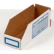 """Foldable Corrugated Shelf Bin 8""""W x 18""""D x 4-1/2""""H, White - Pkg Qty 100"""