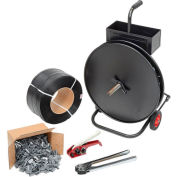 """Global Industrial™ Strapping Kit w/ Tensioner/Crimper/Seals & Cart, 9000'L x 1/2"""" Strap Width"""