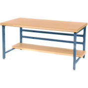 """Stationary 72"""" X 30"""" Shop Top Square Edge Workbench - Blue"""