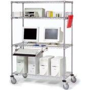 Poste de travail informatique LAN en fil métalliqueNexel™,4 tablettes, plateau à clavier,72 po de largeur x24 po de diamètre x69 po de hauteur, chrome