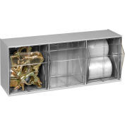 Quantum Tilt Out Storage Bin QTB303- 3 Compartments Gray