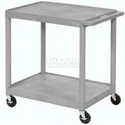 Luxor® HE32 Gray Plastic Shelf Truck 24 x 18 x 33-1/2 2 Shelves
