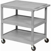 Luxor® HE34 Gray Plastic Shelf Truck 24 x 18 x 32-1/2 3 Shelves