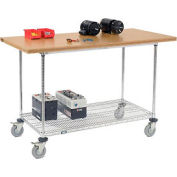 "60""W x 30""D Mobile Workbench with Wire Rack - Shop Top Square Edge"