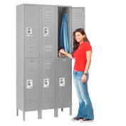 Infinity™ Locker Double Tier 12x12x36 6 Door Ready To Assemble Gray
