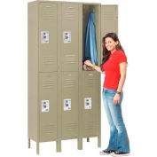 Infinity™ Locker Double Tier 12x18x36 6 Door Ready To Assemble Tan