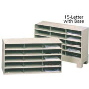 "15 Compartment Steel Literature Sorter with Base - 24""H Tan"