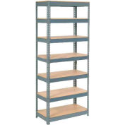 """Global Industrial™ Extra Heavy Duty Shelving 36""""W x 12""""D x 96""""H With 7 Shelves, Wood Deck, Gry"""