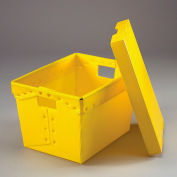 Corrugated Plastic Postal Mail Tote With Lid 18-1/2x13-1/4x12 Yellow - Pkg Qty 10