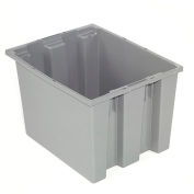 Stack And Nest Container - Plastic Storage SNT190 No Lid 19-1/2 x 15-1/2 x 10, Gray - Pkg Qty 6