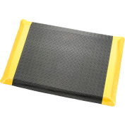 "Diamond Plate Ergonomic Mat 9/16""Thick 24""W Cut Length Up To 75ft, Black/Yellow Border"